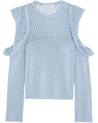 Philosophy Di Lorenzo Serafini - Cutout Open-knit Cotton Jumper - Lyst