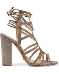 064fa4db531d Schutz - Woman Loriana Cutout Suede Wedge Sandals Gray - Lyst