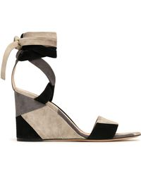 Gianvito Rossi - Lace-up Patchwork Suede Wedge Sandals - Lyst