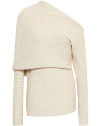 Roberto Cavalli One-shoulder Ribbed Alpaca, Silk And Cashmere-blend Sweater Ivory - White