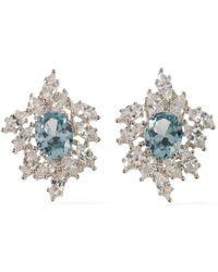 CZ by Kenneth Jay Lane - Silver-tone Crystal Earrings - Lyst