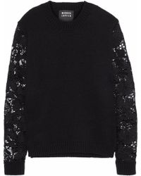 Markus Lupfer - Natalie Guipure Lace-paneled Wool-blend Sweater - Lyst