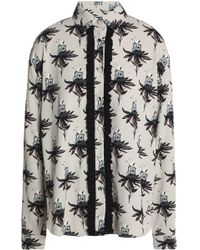 Markus Lupfer - Ruffle-trimmed Printed Crepe Shirt - Lyst