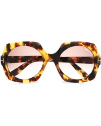 Tom Ford - Square-frame Tortoiseshell Acetate And Gold-tone Sunglasses - Lyst