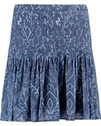 MICHAEL Michael Kors - Pleated Printed Crepe Mini Skirt - Lyst