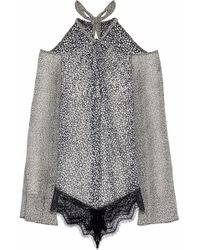10 Crosby Derek Lam - Cold-shoulder Printed Lace-trimmed Silk Top - Lyst