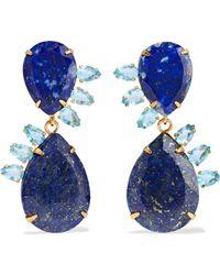 Bounkit - Gold-tone Lapis Lazuli And Quartz Earrings - Lyst