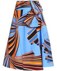 Emilio Pucci - Wrap-effect Printed Stretch-cotton Midi Skirt - Lyst