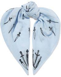 Rag & Bone - Embroidered Cotton-gauze Scarf Sky Blue - Lyst