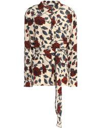 Ganni - Belted Floral-print Silk Crepe De Chine Top - Lyst