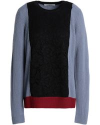 Valentino - Corded Lace-paneled Ribbed Wool Jumper - Lyst