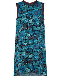 Anna Sui - Woman Metallic-trimmed Printed Silk-jacquard Mini Dress Teal - Lyst