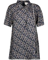 3.1 Phillip Lim - Pleated Wrap-effect Printed Silk-satin Twill Shirt - Lyst