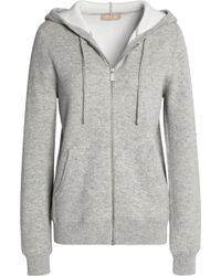 Michael Kors - Mélange Wool-blend Hooded Sweatshirt Light Grey - Lyst