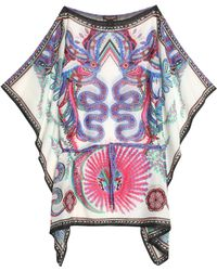 Roberto Cavalli - Draped Printed Cotton And Silk-blend Voile Kaftan - Lyst