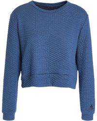 adidas - Quilted Cotton-blend Sweatshirt Blue - Lyst
