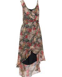 Love Sam - Paris Wrap-effect Floral-print Metallic Georgette Dress - Lyst