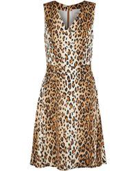 Carolina Herrera - Flared Leopard-print Stretch-silk Dress Animal Print - Lyst