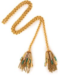 Elizabeth Cole - Woman Gold-tone Crystal And Stone Necklace Green Size -- - Lyst