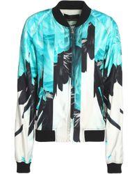 Roberto Cavalli - Printed Silk-twill Bomber Jacket - Lyst