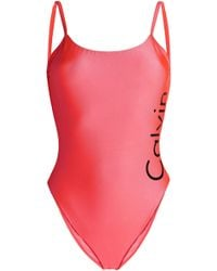 Calvin Klein Open-back Printed Swimsuit Bright Pink