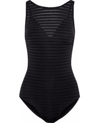 Jets by Jessika Allen - Layered Mesh-trimmed Striped Swimsuit - Lyst