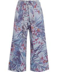 SUNO - Floral-print Denim Culottes - Lyst