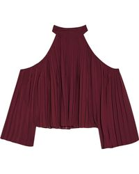 W118 by Walter Baker - Mila Cold-shoulder Pleated Crepe De Chine Blouse - Lyst