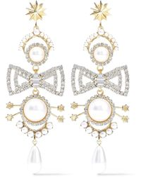 Elizabeth Cole - 24-karat Gold-plated, Faux Pearl And Crystal Earrings White - Lyst