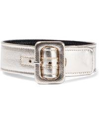 Attico - Woman Metallic Pebbled-leather Anklet Platinum - Lyst