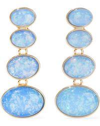 Kenneth Jay Lane - Gold-tone Stone Clip Earrings Light Blue - Lyst
