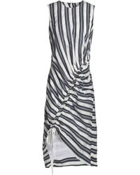 Christopher Esber - Stripe Gathered Midi Dress - Lyst
