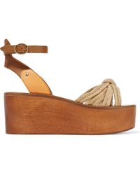 Étoile Isabel Marant Zia Panelled Woven, Textured And Snake-effect Leather Wedge Sandals