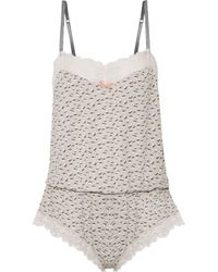 Eberjey - Foxxy Lace-trimmed Printed Stretch-modal Playsuit - Lyst