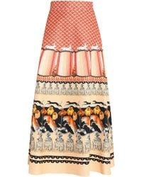 Temperley London - Printed Cotton-blend Faille Maxi Skirt - Lyst