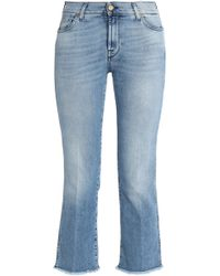 7 For All Mankind - Cropped Frayed Mid-rise Bootcut Jeans - Lyst