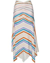 Peter Pilotto - Woman Ruched Striped Jersey Midi Skirt White - Lyst