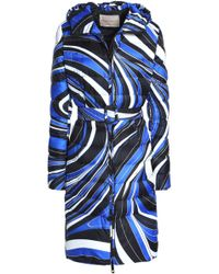 Emilio Pucci - Printed Quilted Shell Hooded Down Coat Royal Blue - Lyst