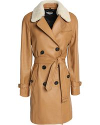 COACH - Double-breasted Shearling-trimmed Leather Coat - Lyst