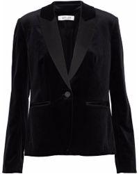Diane von Furstenberg - Satin-trimmed Cotton-blend Velvet Blazer - Lyst