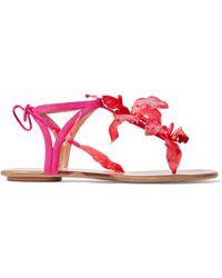 Aquazzura - Flora Appliquéd Suede Sandals - Lyst