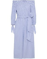 Caroline Constas - Lou Off-the-shoulder Striped Cotton-blend Poplin Jumpsuit - Lyst