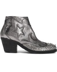 McQ - Embellished Metallic Cracked-leather Ankle Boots - Lyst