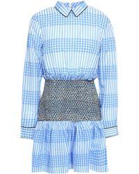 4c6ba22e Ganni - Woman Charron Smocked Gingham Cotton-blend Seersucker Mini Dress  Light Blue - Lyst