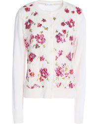 Oscar de la Renta - Embellished Lace-paneled Wool And Silk-blend Cardigan - Lyst