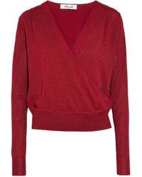 Diane von Furstenberg - Metallic Wrap-effect Knitted Top - Lyst
