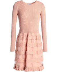 RED Valentino - Ribbed And Cable-knit Wool And Point D'esprit Mini Dress - Lyst