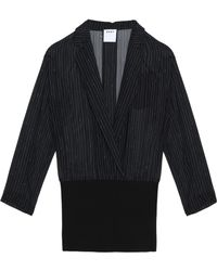 DKNY - Pinstriped Silk And Merino Wool Top - Lyst