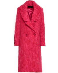 Paper London - Woman Rainbow Mohair-blend Coat Fuchsia - Lyst