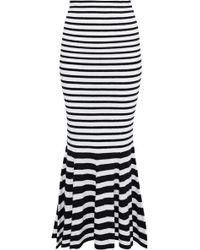 McQ - Fluted Striped Wool-blend Midi Skirt - Lyst